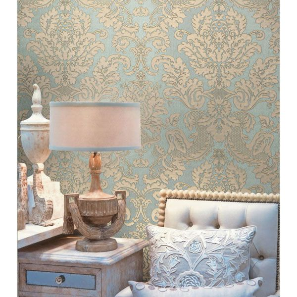 2537-M3953 Blue Embossed Damask - Agnese - Beacon House Wallpaper
