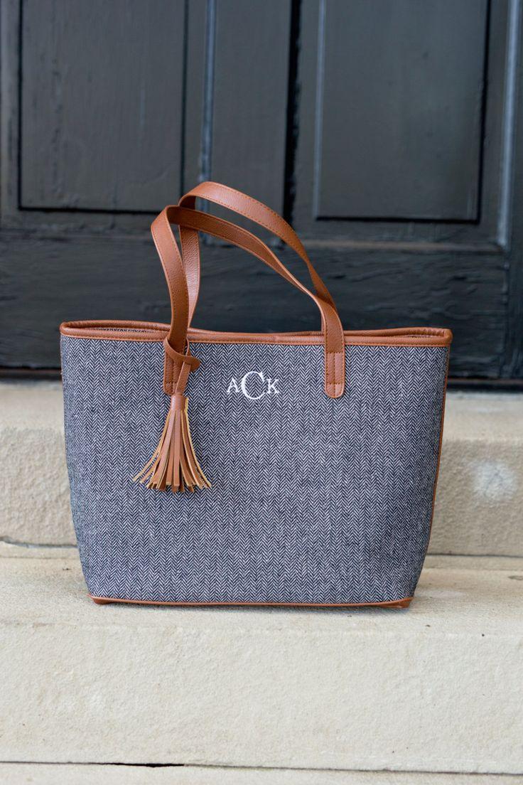 Monogrammed Wool Herringbone Tassel Tote Bag