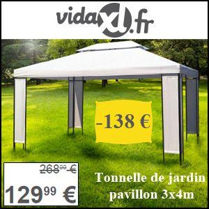 #missbonreduction; Réduction de 138€ sur la Tonnelle de jardin pavillon 3x4m chez Vidaxl. http://www.miss-bon-reduction.fr//details-bon-reduction-Vidaxl-i853065-c1826705.html