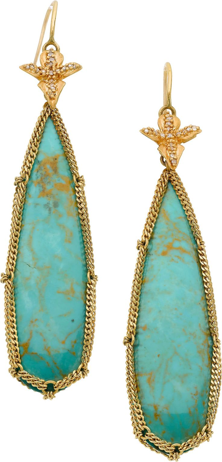 Anthony Nak Turquoise, Diamond, Gold Earrings 22k Gold With Turquoise And  Diamond Accents
