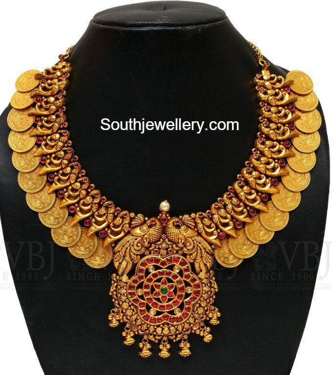 Antique gold Peacock Kasu Necklace peacock necklace models, kasulaperu necklace designs