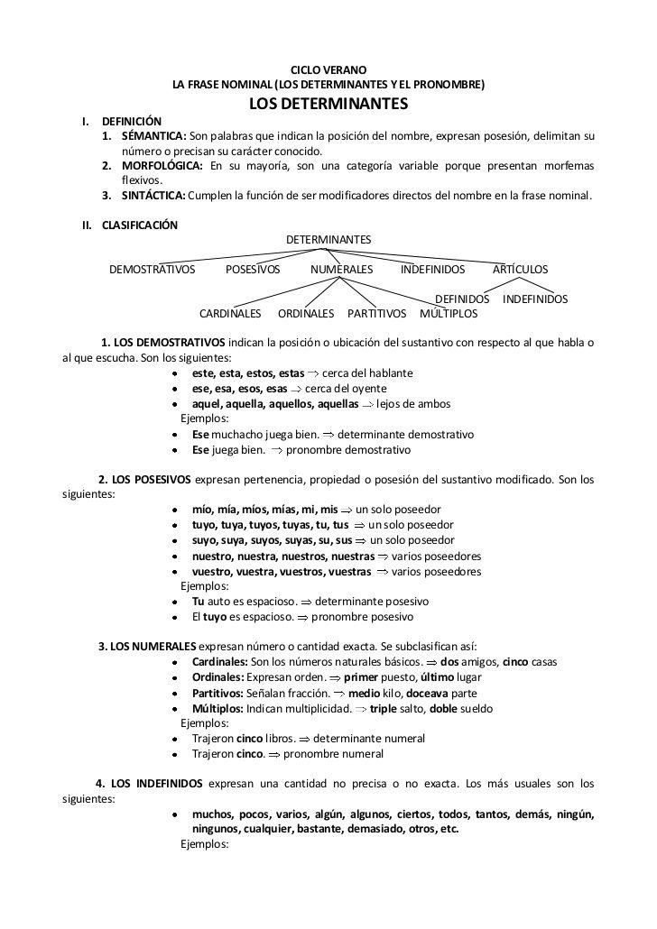 CICLO VERANO                     LA FRASE NOMINAL (LOS DETERMINANTES Y EL PRONOMBRE)                                    LO...