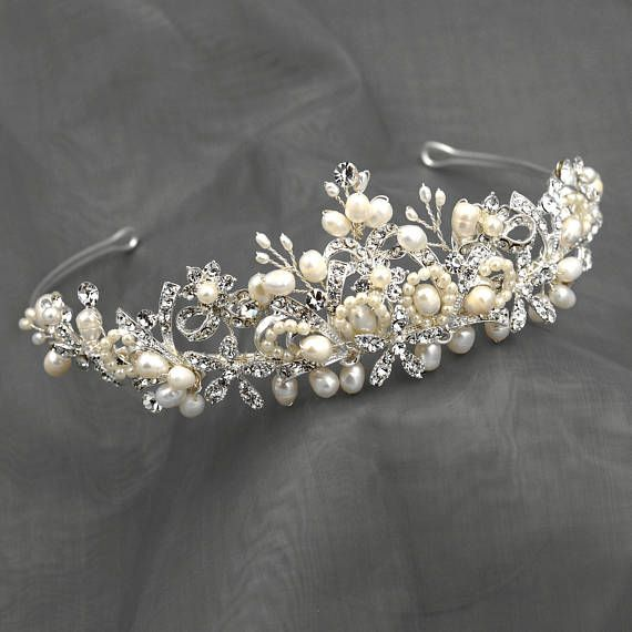 SILVER FRESHWATER PEARL WEAVE BEADS FLORAL WEDDING CROWN Material: White freshwater pearls, Clear Czech crystals. MEASUREMENTS 7.75 in length and 2 at its widest point.