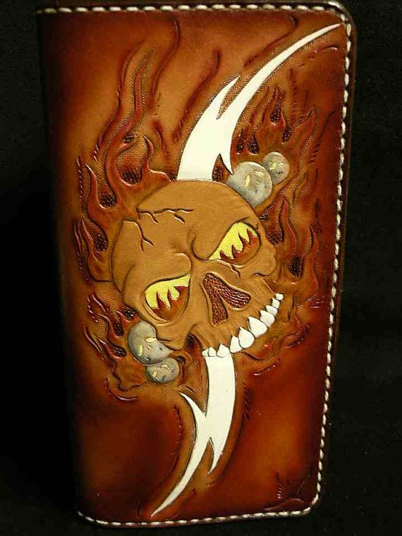 Tooled leather checkbook wallet by AcrossLeather on Etsy, $165.00
