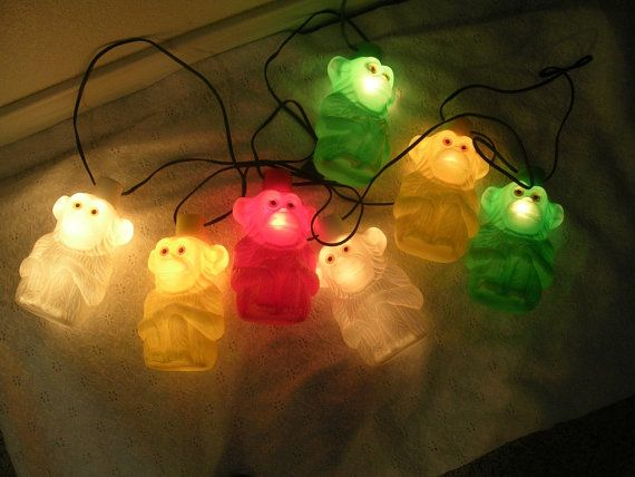 Vintage Blow Mold Monkey String Patio Camping Lights