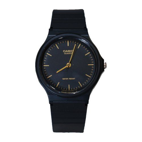 Casio Men's MQ24-1E Black Resin Watch Simple and versatile, this Casio watch features a minimalist design and black and gold color scheme, making it ideal for many occasions.. Quartz movement with analog display. Resin glass dial window. Gold-tone hands and dial markers.  #Casio #Watch