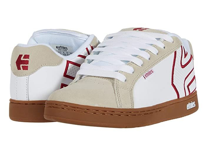 Etnies Fader Mens White Suede Low Top Lace Up Skate Sneakers Shoes
