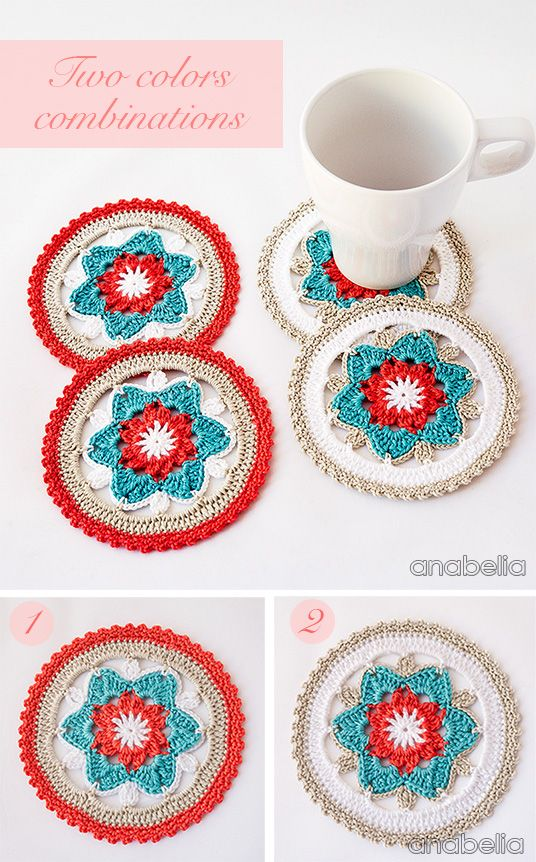 Daffodil crochet coasters, PDF pattern ༺✿ƬⱤღ  https://www.pinterest.com/teretegui/✿༻