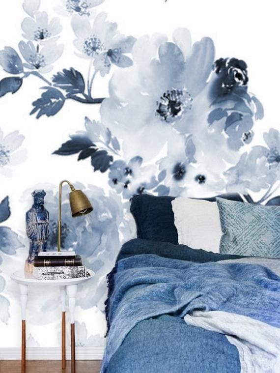 Blue And White Floral Wallpaper Blue Wall Mural Remove Etsy Blue Floral Wallpaper Floral Wall Decals Floral Wallpaper