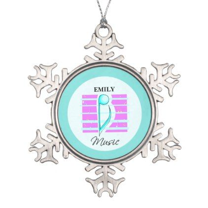 Congratulations Note Musical Performance Snowflake Pewter Christmas Ornament - pink gifts style ideas cyo unique