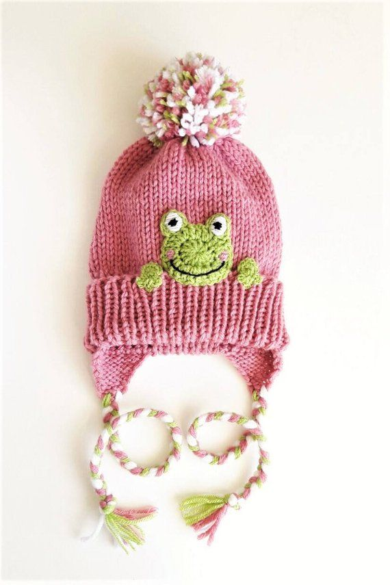 Kids Winter Hat, Frog Hat, Earflap Hat, Knit Pink hat, Pom Pom Hat, Toddler Outfit, Frog Applique, Animal Hat, Kids Clothing, Cute Girls Hat