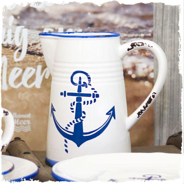 Anker Vintage-KANNE Bewirteangespühlte Gäste mit maritimer Eleganz. :) Diese Anker Kanne ist einfach ein Gedicht für echte Küstenliebhaber. Größe:  17,5 cm hoch, 17/9/12 cm Durchmesser Steingut lackiert...