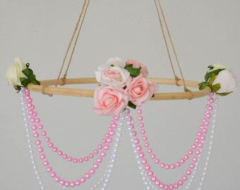 SALE! Light Pink Rustic Flower Chandelier, Rose Chandelier, Wedding Decor, Baby Decor, Baby Chandelier, Baby Mobile, Rose Mobile, Nursery