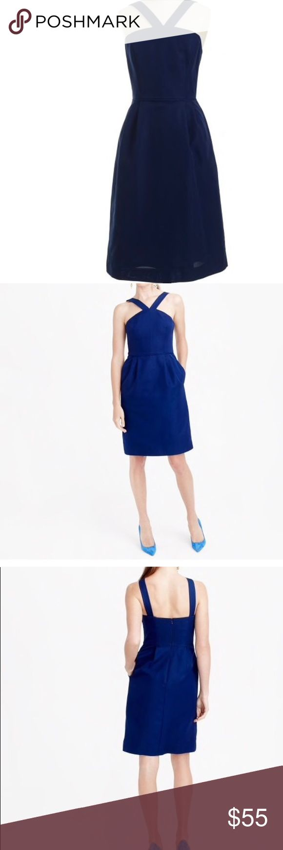 """J. Crew Lexie dress in classic faille A-line silhouette. Interior boning for added support. Falls above knee, 38 3/4"""" from high point of shoulder   Classic faille has a subtle sheen and a fluid structure that tailors and drapes (and photographs) beautifully. With a timeless silhouette that easily dresses up or down, this dress is a no-brainer for cocktail parties and gallery openings alike—Discreet pockets keep little extras like lipstick close at hand.  Cotton/viscose. Back zip. On-seam…"""