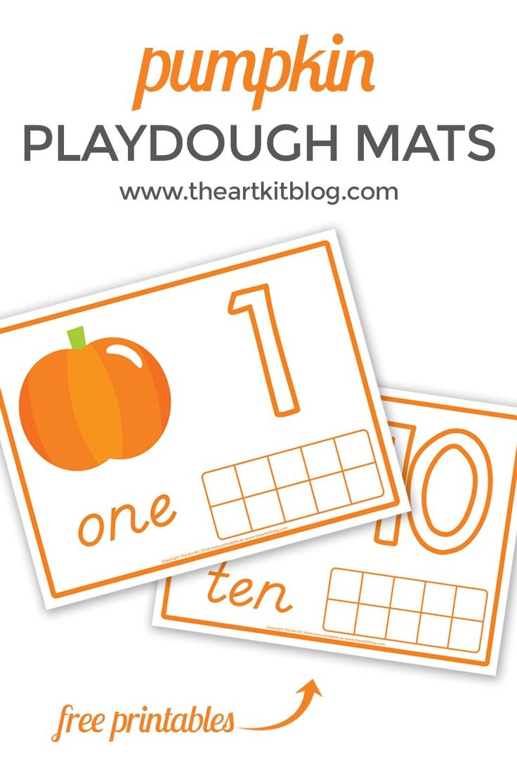 Pumpkin Playdough Mats for Number Practice {Free Printables!} via @theartkit