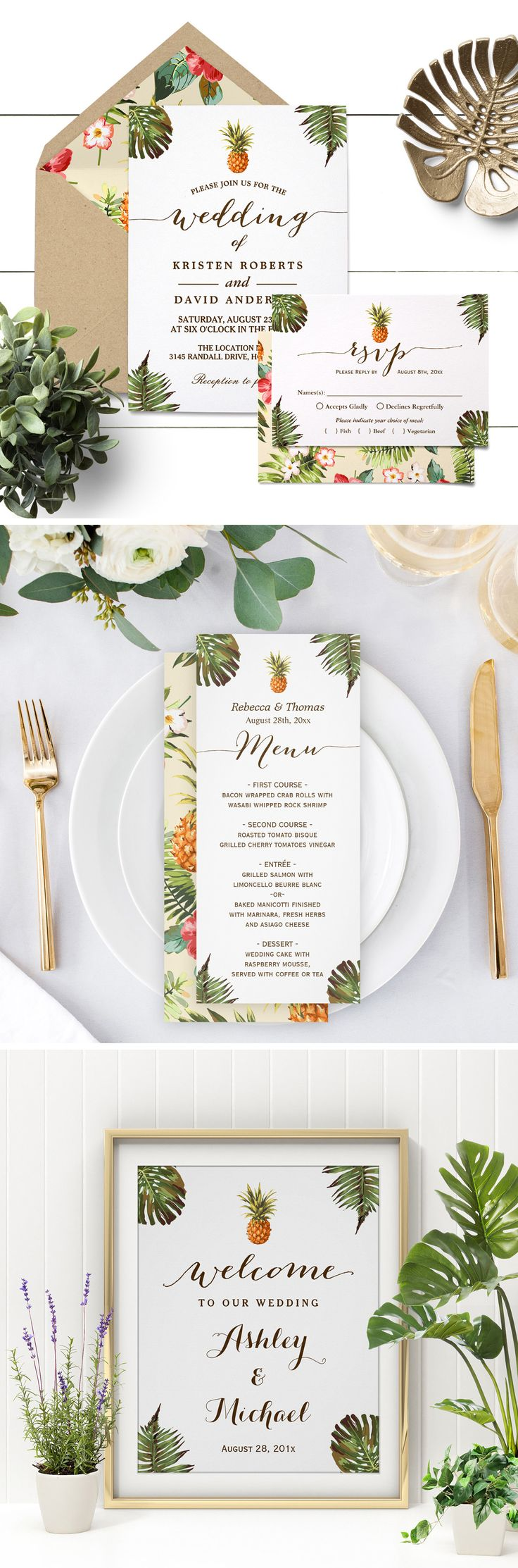 Planning a destination wedding in summer season? This Tropical Leaves Pineapple Luau Wedding Invitation Suite sets the Hawaiian and relaxing wedding tones perfectly for this summer trend.