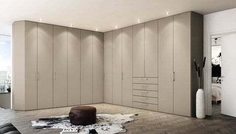 hulsta Multi- Forma corner wardrobe in sand lacquer with drawers