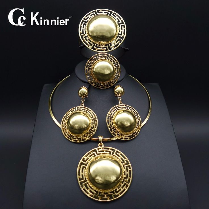 hot Women fashion Jewelry Sets Big Exaggerated Necklace Earrings Pendant African dubai Gold Plated Bridal shell type Party