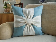 Burlap bow pillow cover in aqua blue and white by LowCountryHome, $38.00