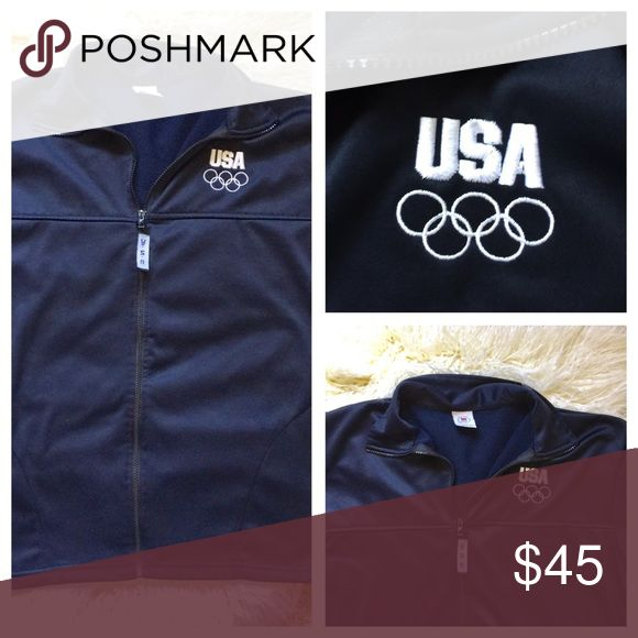 "Navy USA Olympic committee jacket. Made in 🇺🇸 Navy zip up jacket.  Olympic committee. USA in the front with the Olympic Rings.  USA on the zipper pull.  Great condition. Light poly material.  Made in the 🇺🇸.  Size XL.  Approximate measurements 23"" and 28"" length. USA Olympics  Jackets & Coats"