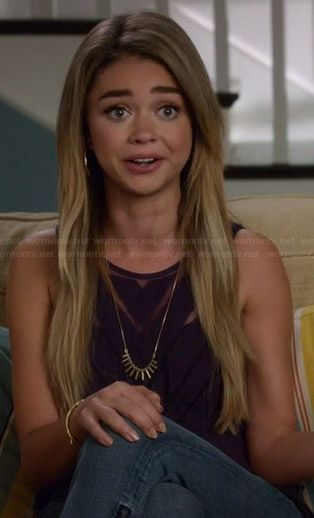 Haley's sheer black chevron top on Modern Family.  Outfit Details: http://wornontv.net/37107/ #ModernFamily