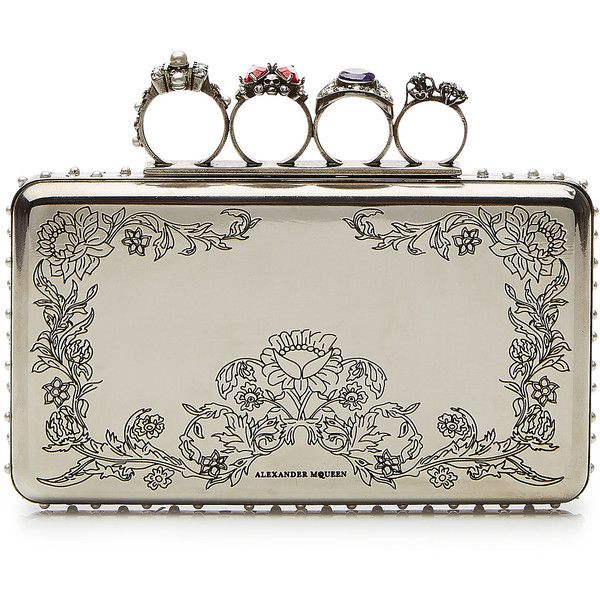 Alexander McQueen Embossed Metal Clutch (2,315 CAD) ❤ liked on Polyvore featuring bags, handbags, clutches, silver, white clutches, flower print purse, white hand bags, metal purse and white handbags