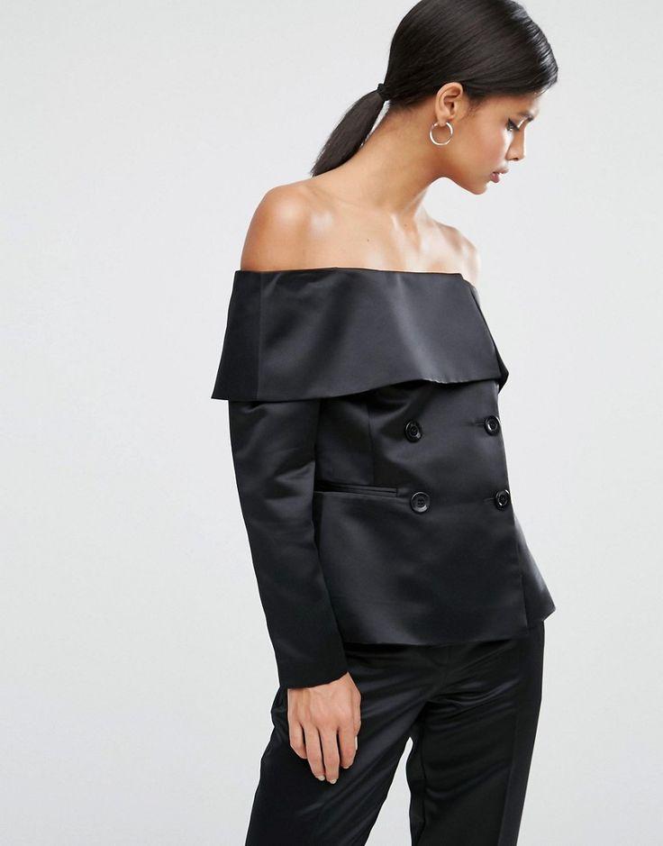 Image 1 - ASOS - Blazer glamour satiné à épaules dénudées