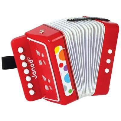 Let the music begin! Janod accordion will be a hit with any preschooler.  AGE 3+ #toys2learn #Janod #music #preschool#band#therapy#play#australia