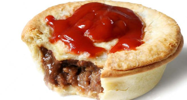 An Australian or New Zealand meat pie is a hand-sized meat pie containing largely diced or minced meat and gravy, sometimes with onion, mushrooms, or cheese and often consumed as a takeaway food snack.