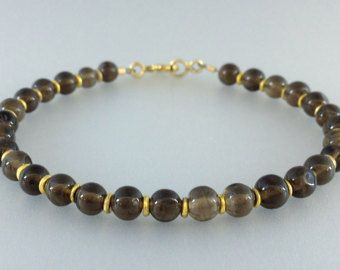 Check out Bracelet with smokey Quartz and 14K gold plated elements - gift idea  on gemorydesign