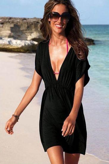 Black classic beach cover-up dress - omdear.com