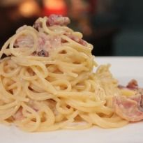 Spaghetti Carbonara: A classic Italian pasta dish with the key ingredients of egg, bacon and parmesan cheese.