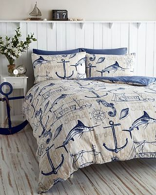 Nautical Ship Themed Wharf Blue Double Duvet Cover Bedding Bet Set