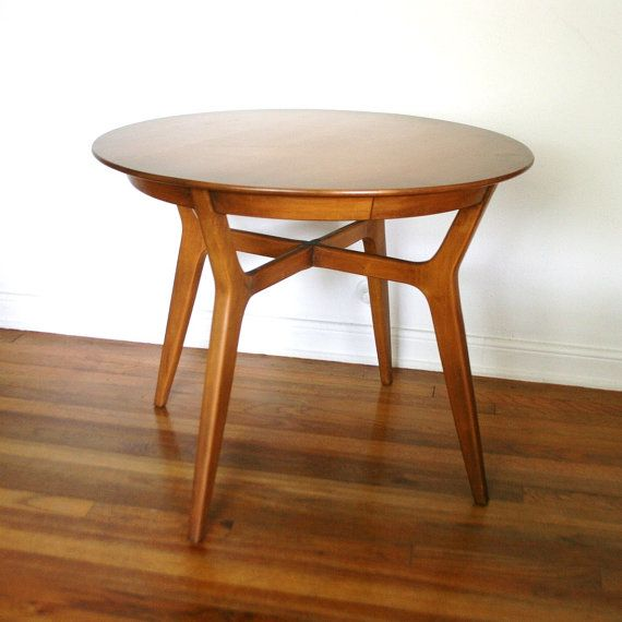 Mid century round coffee table willett maple by for Round table 99 rosenheim