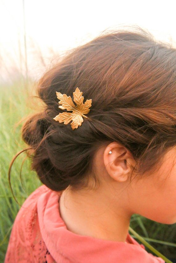 Gold Maple Leaf Hair Pins Maple Leaf Bobby Pin Fall by luxebuffalo