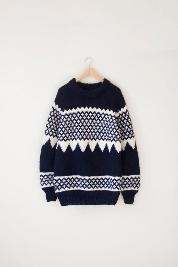mens VINTAGE hand knit oversize nordic print by misovintage/ if only it was for women ...!