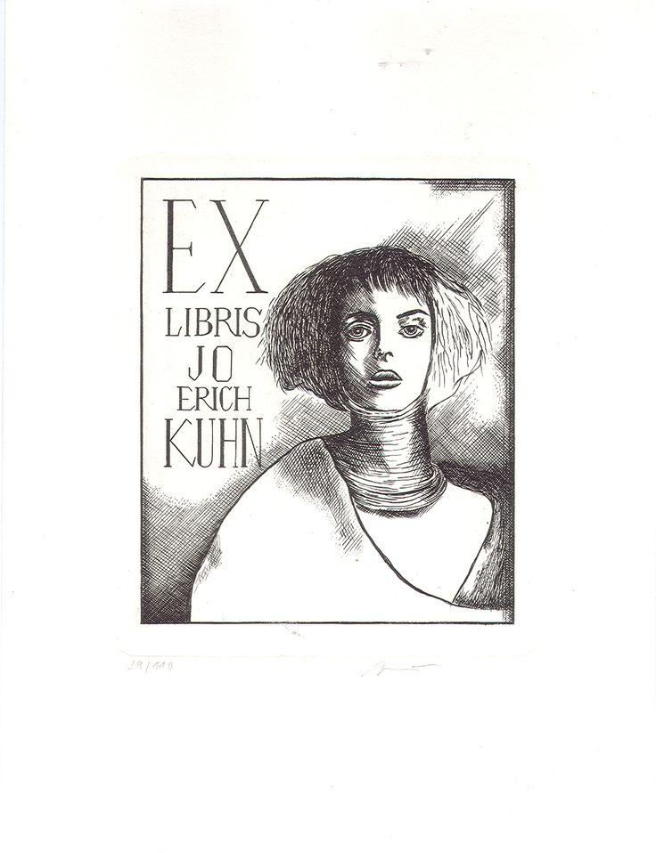 Ex libris Tajemná kráska pro JEK Ex libris 11x 9,3 cm pro Jo Ericha Kuhna, vytvořené technikou mědirytiny (C2) na kvalitním papíru. Možno poslat jako doporučený dopis v ceně poštovného 34 Kč.
