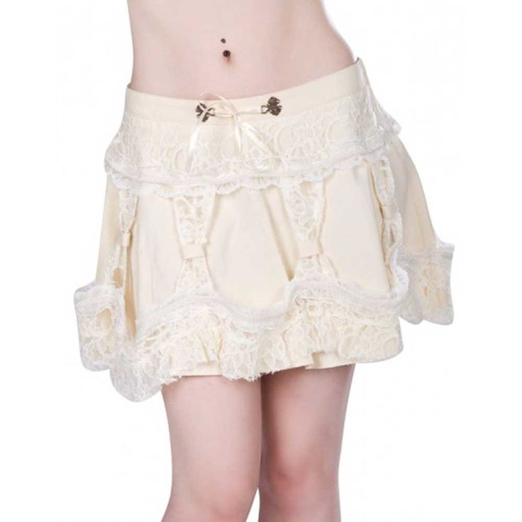 Aderlass Steampunk mini rok met kant crème/wit - Gothic Metal Rock | A