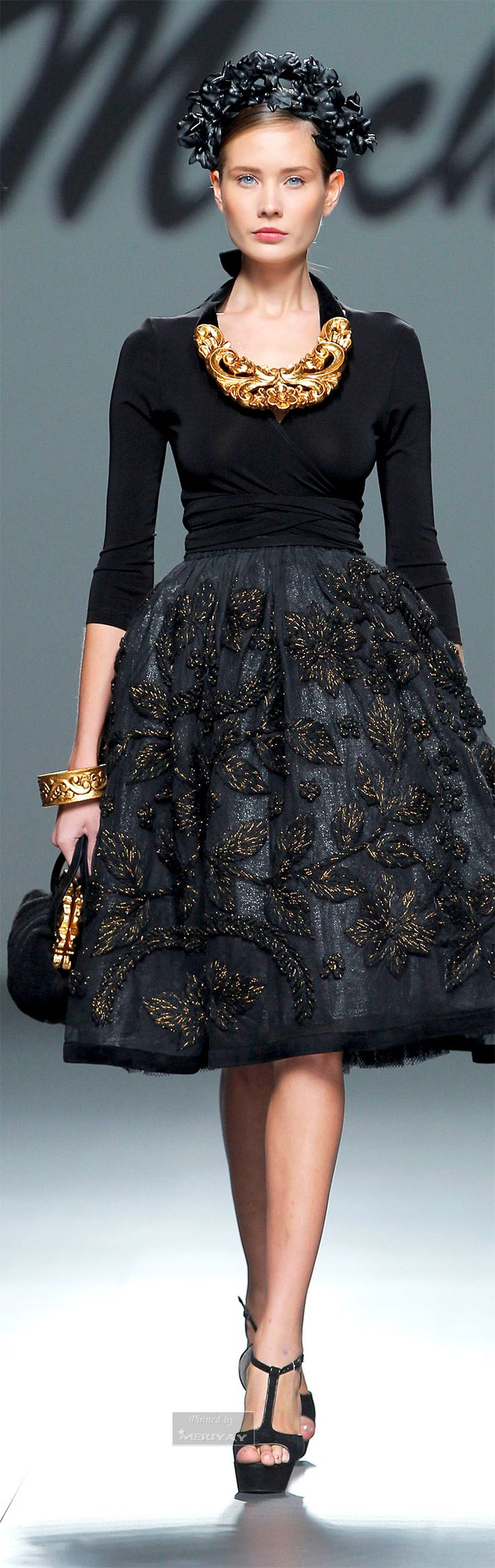 Dolce & Gabbana ~ Fitted Black Bodice Dress w Embroidered Pleated Full Skirt 2015