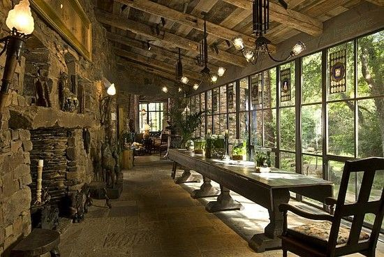 Unique Natural-Themed House from Ancient Time: Cozy Rustic Dining Room Extending Table Dallas Fantasy Project ~ gozetta.com Architecture Inspiration