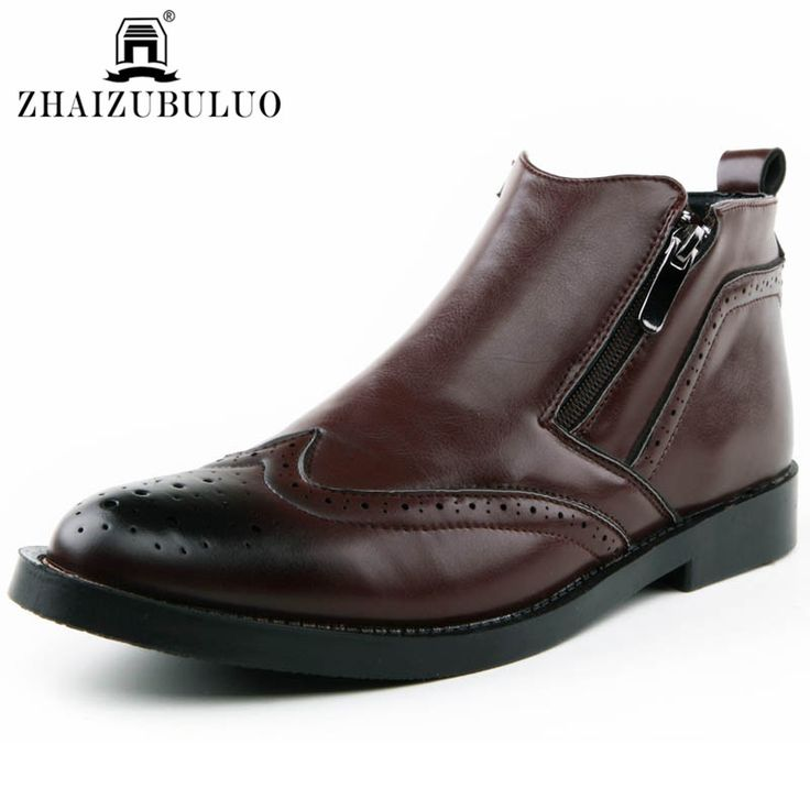 2016 Fashion Men's Martin Boots British Style Slip On Men Brogue Shoes High  Top Oxford Ankle