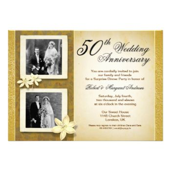 """vintage style 50th wedding anniversary invitation design with two photos. I suggest the """"Linen"""" or """"Felt"""" paper for this design. If you need more additional products (like rsvp, reception, letterheads, postage stamps etc), please contact me. If you like my style, please go to my store and see a lot of unique designs. ..............................................If you need to change only the text please use the """"PERSONALIZE IT"""" window on the right. After you change the information, choose…"""