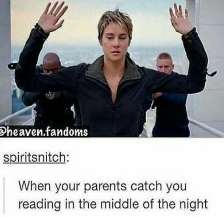 The fact that it's also Divergent makes it so much better bc that's what I was reading when they caught me