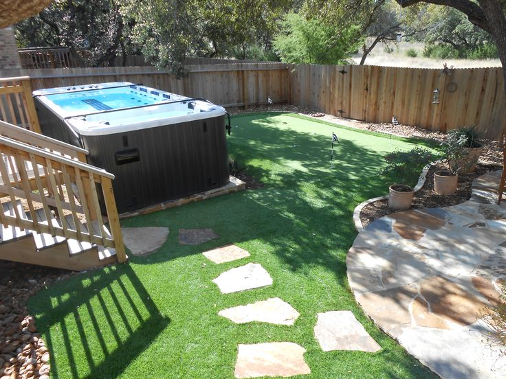Swim spa in a small space above ground pool and spa - Small above ground swimming pools ...