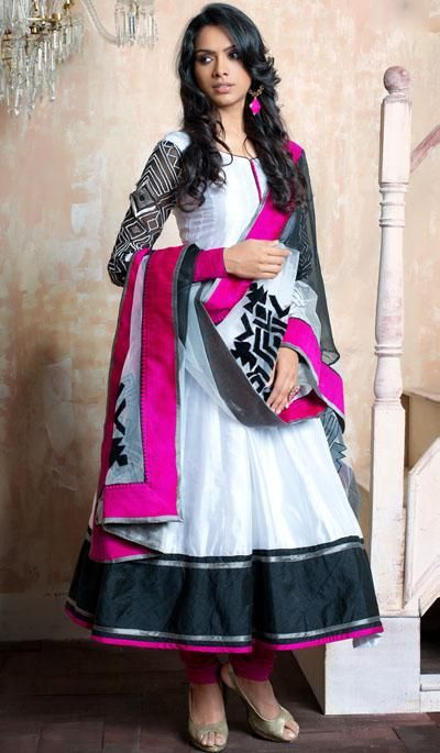 G3fashions White satin embroidered designer salwar suit  Product Code: G3-LSA107155 Price: INR RS 8925