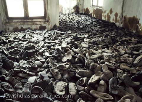 Photograph of room of shoes of murdered Jewish children at Majdanek, the Nazi concentration camp and extermination camp near Lublin, Poland.
