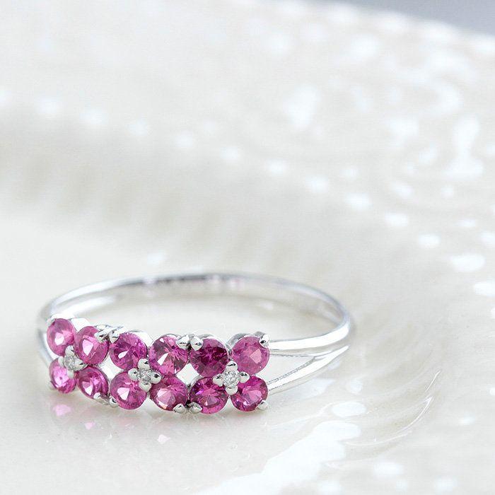 指輪レディースリングルビーホワイトサファイア花7月誕生石ルビーリングPT0.610/0.020ct