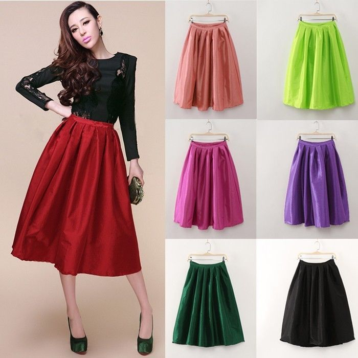 High Waisted Full Midi Skirt