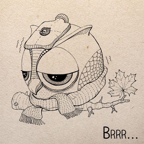 Jesienna sowa. Polub Sowulkę na fb! #autumn #owl #sowulka #sowa #gufo #drawing #illustration #cold