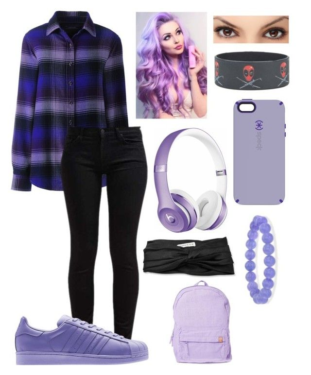 """""""Noa Deller"""" by fandomsxmelissa on Polyvore featuring Lands' End, 7 For All Mankind, adidas, Marvel, Speck, Beats by Dr. Dre, Eugenia Kim, Ross-Simons and OBEY Clothing"""